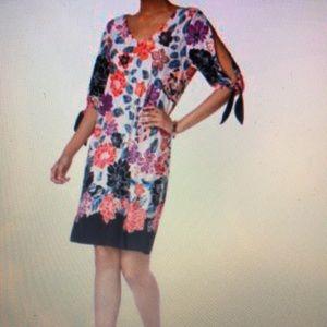 MSK Printed Cold-Shoulder CutOut Dress